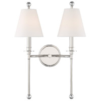 Crystorama RIV-383-PN Riverdale 2 Light 15 inch Polished Nickel Wall Sconce Wall Light
