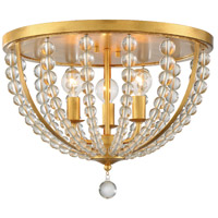 Crystorama ROX-A9000-GA Roxy 3 Light 17 inch Antique Gold Flush Mount Ceiling Light