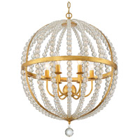 Crystorama ROX-A9006-GA Roxy 6 Light 22 inch Antique Gold Chandelier Ceiling Light