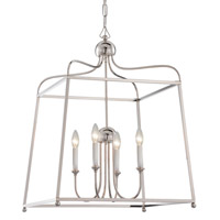 Crystorama 2244-PN Sylvan 4 Light 22 inch Polished Nickel Chandelier Ceiling Light in Polished Nickel (PN), White Linen alternative photo thumbnail