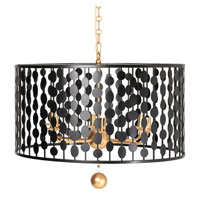Layla 6 Light 24 inch Black and Antique Gold Chandelier Ceiling Light