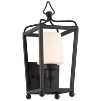 Sylvan 1 Light 18 inch Black Forged Outdoor Wall Mount in Opal Frosted