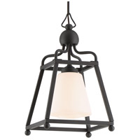 Sylvan 1 Light 9 inch Black Forged Outdoor Chandelier in Opal Frosted