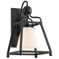 Crystorama SYL-2281-OP-BF Sylvan 1 Light 15 inch Black Forged Outdoor Wall Mount in Opal Frosted