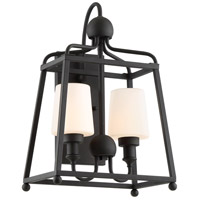 Crystorama SYL-2282-OP-BF Sylvan 2 Light 18 inch Black Forged Outdoor Wall Mount in Opal Frosted
