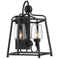 Crystorama SYL-2282-SD-BF Sylvan 2 Light 18 inch Black Forged Outdoor Wall Mount in Seeded