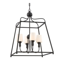 Sylvan 4 Light 22 inch Matte Black Outdoor Chandelier, Libby Langdon