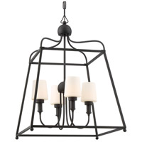 Sylvan 4 Light 22 inch Black Forged Outdoor Chandelier in Opal Frosted