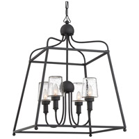 Sylvan 4 Light 22 inch Black Forged Outdoor Chandelier in Seeded