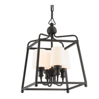 Sylvan 4 Light 14 inch Black Forged Outdoor Chandelier, Libby Langdon