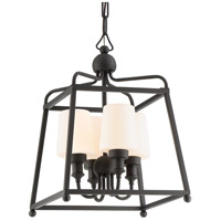 Sylvan 4 Light 14 inch Black Forged Outdoor Chandelier in Opal Frosted