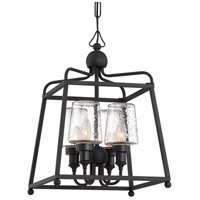 Sylvan 4 Light 14 inch Black Forged Outdoor Chandelier in Seeded