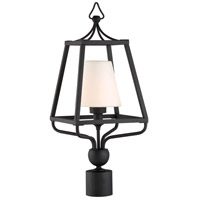 Sylvan 1 Light 23 inch Black Forged Outdoor Lantern Post in Opal Frosted