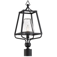 Crystorama SYL-2287-SD-BF Sylvan 1 Light 23 inch Black Forged Outdoor Lantern Post in Seeded