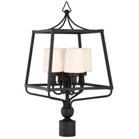 Crystorama SYL-2289-OP-BF Sylvan 4 Light 26 inch Black Forged Outdoor Lantern Post in Opal Frosted