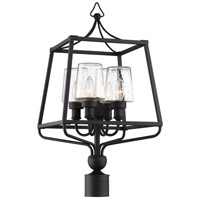 Crystorama SYL-2289-SD-BF Sylvan 4 Light 26 inch Black Forged Outdoor Lantern Post in Seeded photo thumbnail