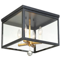 Crystorama WES-9900-BK-GA Weston 4 Light 13 inch Black and Antique Gold Flush Mount Ceiling Light