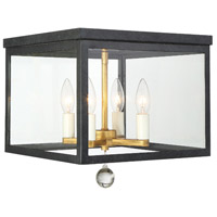 Crystorama WES-9900-BK-GA Weston 4 Light 13 inch Matte Black and Antique Gold Flush Mount Ceiling Light