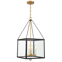 Crystorama WES-9905-BK-GA Weston 4 Light 14 inch Matte Black and Antique Gold Lantern
