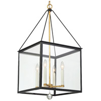 Crystorama WES-9907-BK-GA Weston 4 Light 17 inch Black and Antique Gold Hanging Lantern Ceiling Light