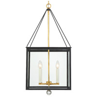 Crystorama WES-9907-BK-GA Weston 4 Light 17 inch Matte Black and Antique Gold Lantern