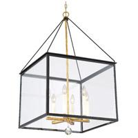 Crystorama WES-9908-BK-GA Weston 6 Light 21 inch Black/Antique Gold Lantern