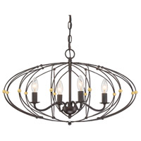 English Bronze/Antique Gold Steel Chandeliers