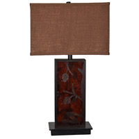 Crestview Collection CVAER1031 Rhodes 31 inch 150 watt Black and Bronze Table Lamp Portable Light with Nightlight