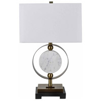 Crestview Collection CVAMB0006 Circles 27 inch 150.00 watt Soft Brass and White with Black Table Lamp Portable Light