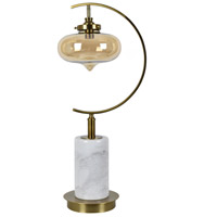 Brass and White Marble Table Lamps