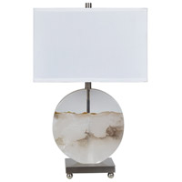 Crestview Collection CVAVP1018 Canyon 27 inch 150.00 watt Alabaster and Satin Nickel Table Lamp Portable Light