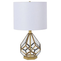 Crestview Collection EVAER1607 Harlow 21 inch 150.00 watt Antiqued Gold and Clear Table Lamp Portable Light