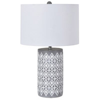 Crestview Collection EVAVP1568 Ava 20 inch 150.00 watt Handfinished Gray and White Table Lamp Portable Light