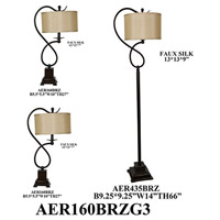 Crestview Collection AER160BRZG3 Element Table Lamps Portable Light plus Floor Lamp Set of 3
