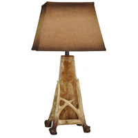 Crestview Collection CVABS1050 Antler Cage 32 inch 150 watt Resin Antler and Antique Glass Table Lamp Portable Light, with Nightlight