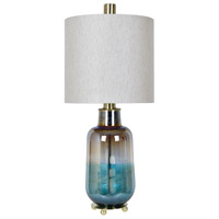 Crestview Collection CVABS1440 Ava 33 inch 150 watt Teal Iridescent and Brass Table Lamp Portable Light