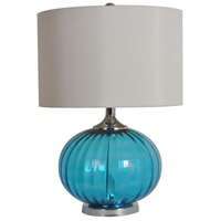 Crestview Collection CVABS680 Newport 22 inch 100 watt Blue and Nickel Table Lamp Portable Light