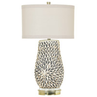 Crestview Collection CVAP1989 Sierra 32 inch 150 watt White Pearl and Brass Table Lamp Portable Light