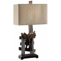 Crestview Collection CVAVP160 Saddle 32 inch 100 watt Resin Rustic Wood Table Lamp Portable Light