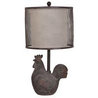 Crestview Collection CVAVP530 Rooster 24 inch 100 watt Rust Grey Table Lamp Portable Light