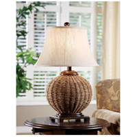 Crestview Collection CVNAM638 Latham 30 inch 150 watt Light Brown Wicker and Dark Wood Table Lamp Portable Light