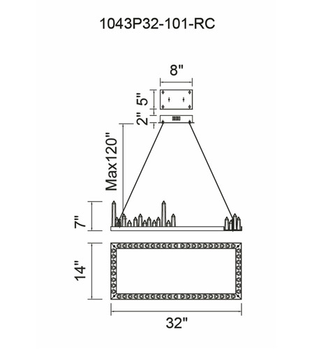 CWI Lighting 1043P32-101-RC Juliette LED 32 inch Black Pool Island Light Ceiling Light photo thumbnail