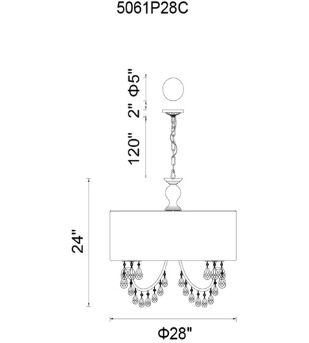 CWI Lighting 5061P28C-W Halo 8 Light 28 inch Chrome Chandelier Ceiling Light photo thumbnail