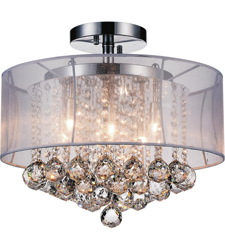 CWI Lighting 5062C16C (CLEAR + W) Radiant 6 Light 16 inch Chrome Drum Shade Flush Mount Ceiling Light photo thumbnail