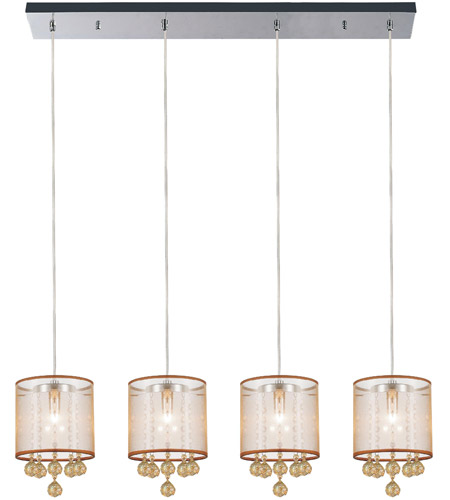 CWI Lighting 5062P33C-4-(CHP-+-G) Radiant 4 Light 33 inch Chrome Chandelier Ceiling Light photo thumbnail