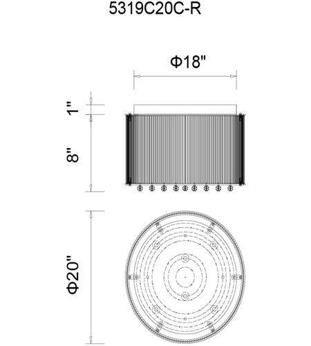 CWI Lighting 5319C20C-R Spring Morning 9 Light 20 inch Chrome Flush Mount Ceiling Light photo thumbnail
