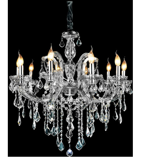 CWI Lighting 8399P32C-10 (SMOKE) Riley 10 Light 32 inch Chrome Up Chandelier Ceiling Light photo thumbnail