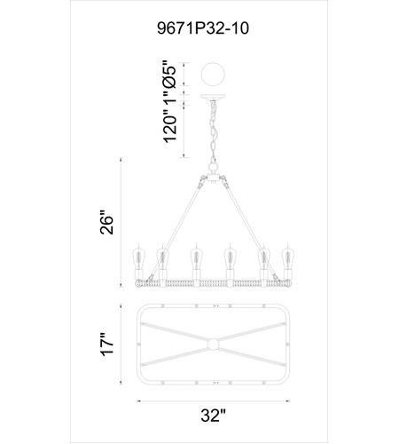 CWI Lighting Brown Metal Chandeliers