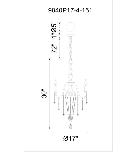 CWI Lighting 9840P17-4-161 Pembina 4 Light 17 inch Speckled Nickel Chandelier Ceiling Light photo thumbnail