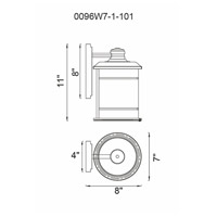 CWI Lighting 0096W7-1-101 Belmont 1 Light 11 inch Black Outdoor Wall Light